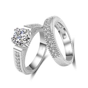 Élégant mariage bagues de fiançailles mis 2 accessoires d'anniversaire en argent Sterling PCS 925 avec complet brillant Cubiz Zircon pierre