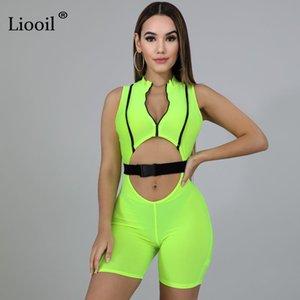 Liooil Neon Yeşili Seksi Çizgili BODYCON Jumpsuit Kadınlar 2020 Kolsuz Yukarı Hollow Out Sıkı playsuits Parti Şort Kulübü Romper Zip