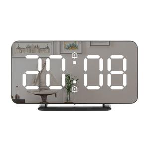 Digital Mirror Alarm Clock LED Wall Table Electronic Temperature Clocks Multifunction Watch Home Decoration Clock T200601
