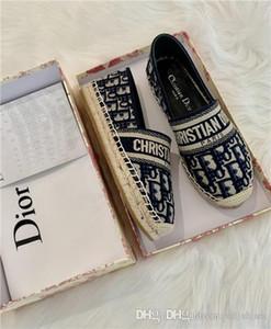 Femmes Deep Blue Granville Oblique brodé coton chaussures Espadrilles main en cuir bleu marine unique semelle intérieure chaussures de marque de luxe