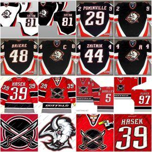 Buffalo Sabrers Jersey 48 Daniel Brie 39 Dominik HaSek 29 Jason Pominville 81 Satana 9 Derek Roy Jason Woolley Hockey Jersey