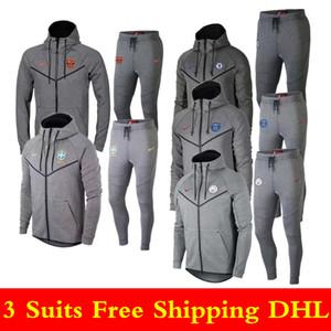 3 pièces ensemble livraison gratuite DHL 1819 sportswear de haute qualité 19 nouveau chandail gris veste à capuchon costume de sport de football pour hommes