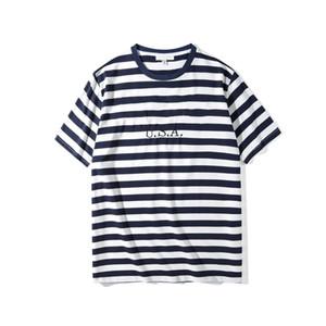 CP pantalones vaqueros para hombre EE.UU. rayada camisetas del verano bordado de la manera diseñador camisetas de manga corta Tops Ropa de Wulong