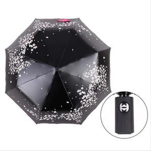Automatic 3-ombrello pieghevole pioggia Cherry Blossom donne rivestimento nero anti-uv Strumenti Sakura Fiore ombrello pioggia Stampa Sun Ombrellone