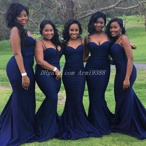 Navy Blue Spaghetti Straps Bridesmaid Dresses Long Satin Formal Wedding Party Dress Maid Of Honor Dress Mermaid Wedding Guest Plus Size