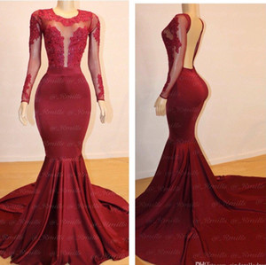 2020 Sexy Long Evening Dresses Jewel neck Long Sleeves Lace Top Stretch Satin Floor Length Black Girl Mermaid African Prom Dresses