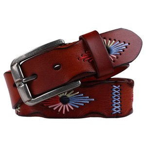 2017 Top Quality Cinturino In Vera Pelle Cintura Donna Vintage Floreale Intagliato Cowskin Cinture Donna Riemen Voor Vrouwen C19041101