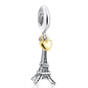 파인 쥬얼리 925 개 스털링 실버 에펠는 여성을위한 14K 금 도금 심장 매달려 매력 펜던트 타워 유럽 팔찌 DIY 만들기에 적합