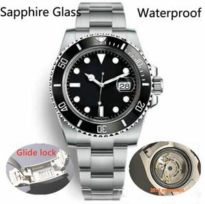 Glide LockCeramic ободок Sapphire Мужские 2813 Механические автоматические движения SS моды часы мужские часы Наручные часы BTime