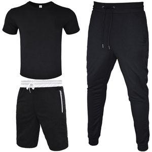 Trainingsanzug Männer T-Shirt + kurze Hose + lange Hose-3-teilig Outfit Straße Wind Leggings Sport beiläufige Baumwolle T-Shirt mit Reißverschluss