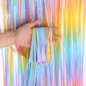 2m Kulisse Vorhänge Tinsel Fringe Foil Curtain-Geburtstags-Party-Dekor Adult Regen für die Foto-Zone Anniversaire Partei Kulisse