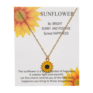 Simple Sunflower Pendant Necklaces 2020 Summer New Arrival Vintage Fashion Daily Jewelry Cute Sweater Necklaces for Women Birthday Gift