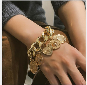 Ornaments exaggerated chain coins retro hand ornaments female personality relief figure geometric Bracelet
