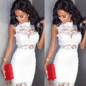 African Trendy Cocktail Dresses Sexy Mini Lace Party Gowns High Collar Zipper Back Club Wear Dress Short Prom Dresses