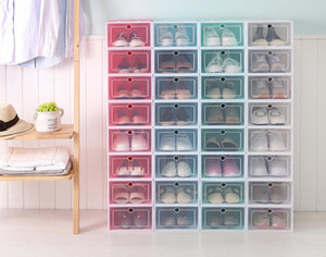 Schublade Typ Transparent Schuhkarton-Eindickung Einwickeln in Folie Storage Box stapelbare faltbare Kostengünstig Rectangle Bins Hot Sell