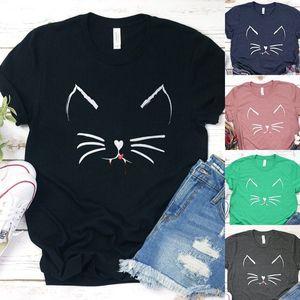 Women Oversized T Shirt Lovely Cat Face Beard Print Tshirt Funny O Neck Short Sleeve T-shirt Top Female Aesthetic Tee