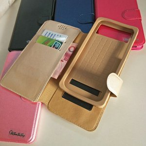 Universal Card Slot Pull Up Down Wallet PU Flip Funda de cuero para 4.0 4.3 4.7 5.0 5.5 6 pulgadas Teléfono celular iPhone Samsung Huawei XiaoMi MOTO LG