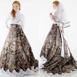 New Country Style Liebsten Apliqued Camo Brautkleider mit langen Ärmeln Lace Top Korsett Back Country Brautkleid mit Spitzenbesatz
