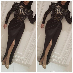 Fashion Arabic Split Evening Dresses High Neck Long Sleeve Lace Appliques Mermaid Prom Dress Formal Prom Gowns