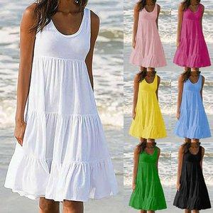 2020 Summer Sleeveless Party Beach Boho White Dress For Women Fasion Dresses Ladies Loose Roupa Plus Size Vestidos Robe Femme
