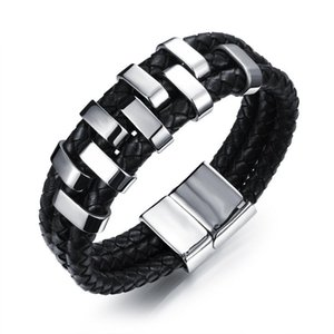 Bijoux fantaisie hommes Bracelets Designer Bracelet ceinture magnétique boucle en cuir véritable armure charmes bracelet en acier inoxydable hommes luxe Bangle