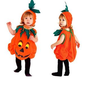 Costumi di Halloween Bambino Bambino Unisex zucca Carino Cosplay Clothes partito di festa dei vestiti 2Pcs pagliaccetto + del cappello Nidi per stage