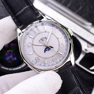 Nouveau Fiftysix Calendrier complet Lune Phase 4000E / 000A-B439 automatique Montre homme cadran gris Steelcase bracelet en cuir Gents Montres Watch_Zone 6color