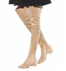 Высокое качество Stretch Женщины над коленом сапоги Круглый Toe Tight высокий коренастый пятки зимы длинные сапоги на молнии платье Обувь Плюс Размер