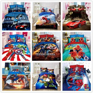 Série dos desenhos animados da criança Conjunto de Cama com fronha 2/3 pcs Colchas com Marvel Herói Spiderman Batman de Terno de Cama
