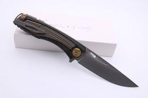 SMKE cuchillos Svarn II personalizada aleta de bolsillo plegable del cuchillo de la lámina de fibra de carbono M390 + manija Titanium de supervivencia Cuchillos tácticos cuchillo al aire libre