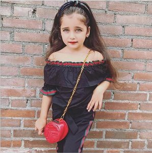 New children's clothing summer girl with black off-shoulder word shoulder t shirt + trousers two-piece kids suit tops pant
