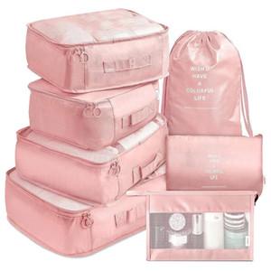 7pcs voyages organisateur de bagages de voyage pour chaussures de vêtements sac de rangement sac étanche placard zip sacs valise organisateurs de sous-vêtements Pochette