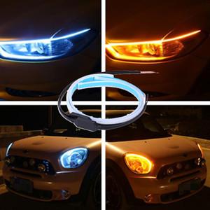 Arabalar Için otomatik Lambalar DRL LED Gündüz Farları Araba tasarım Aksesuarları Dönüş Sinyali Kılavuzu Şerit Far Meclisi