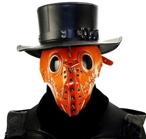 Plague Doctor Steam Punk Mask PU Leather Cosplay Mask Hood Hallowee Role Play Cole Play Costume