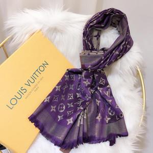 2019 marque hiver LSC2 foulards vente chaude de coton de soie d'or haut de gamme classique mode écharpe mot femmes grands châles foulards 180X70cm pour les femmes