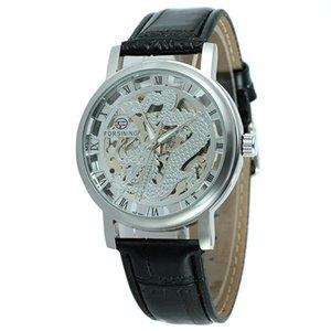 HobbyLane transparente de oro Funda de cuero casual Correa relojes mecánicos del reloj esquelético