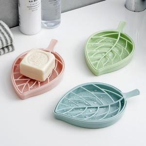 Nouvelle double couche plastique savon Boîte de rangement Salle de bain Soap Box feuilles Creative forme des feuilles boîte à savon Case toilettes salle de bains Organisateur Porte
