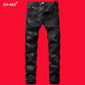 EH·MD® Digital 3D Printed Jeans Men's Black High Street Youth High-end Pure Cotton Zipper Stretch Personality Trousers 2020 New