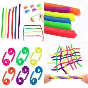 Décompression Corde Flexible Noodle Colle Cordes Nouveauté Environnemental TPR Stretchy String Neon Slings Enfants Adulte Jouets