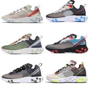 Elemanı tepki 87 Gizli Erkekler Koşu Ayakkabıları Kadınlar Için Tasarımcı Sneakers Spor Erkek Trainer Ayakkabı Yelken Işık Kemik Kraliyet Tonu