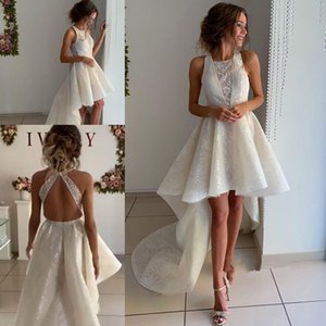 A-line Lace Hi-lo Jewel wedding dresses 2020 High Neck Hollow Back High Low Summer Holiday Beach High Low Bride Wedding Dress