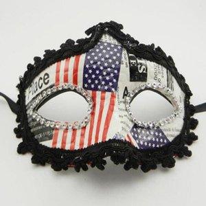 Masque de drapeau américain en cuir tissu Drapeau américain mousseux Eyeliner Mask Party Independence Day Prom Props Drapeau américain
