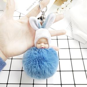 Sevimli Uyuyan Baby Doll Anahtarlık Ponpon Tavşan Kulak Topu Karabina Anahtarlık Anahtarlık Bayan Çocuk Anahtar Tutucu Çanta kolye anahtar Halka Favor RRA2893