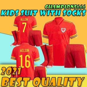 KIDS KIT + الجوارب 2020 2021 ويلز لكرة القدم جيرسي دعوى 20 21 قميص كرة القدم BALE JAMES الفتيان مجموعات مايوه دي القدم RAMSEY أحمر Camisetas
