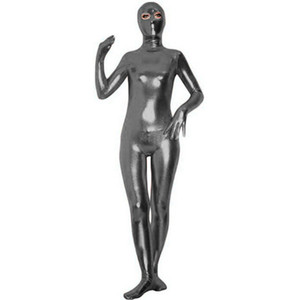 Plus Size 6XL Metallic Masked Catsuit Sexy Women Second Skin Zentai Full Body Open Eyes Costume Classic Cosplay Party Unitard