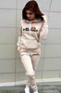 ellesse ELLESSE Womens treino Patchwork Hoodies e calças Outono Inverno camisola com capuz manga comprida listrada capuz Tops nova bestOX42A