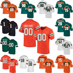 NCAA Miami Hurricanes Jerseys Dwayne Johnson Jersey Jimmy Graham Jim Kelly Devin Hester Frank Gore College Football Jerseys Custom Stitched