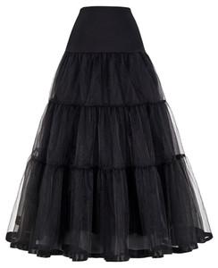 GK Kadınlar Voile etekler Çift katmanlı Retro Vintage Crinoline Petticoat düz renk yüksek bel maksi etek bayanlar Y200326 etek