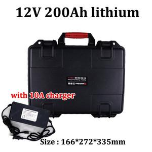 GTK Wasserdichte 12V 200AH Lithium-Ionen-Batterie mit USB-Anschlüssen ABS-Gehäuse für 2000W-Wechselrichter Gabelstapler-Golfwagen UPS AGV + 10A Charger