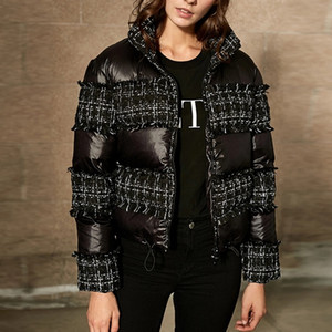 2018 chaud Parkas à col roulé Plaid Tweed Franges Black Women Patchwork Coton Manteau matelassé Fermeture éclair court manteau d'hiver Veste